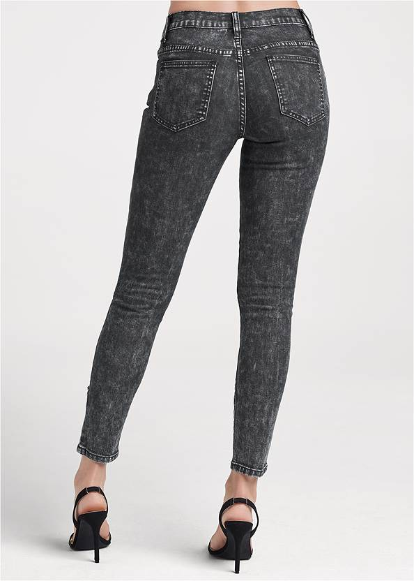 Detail front view Ripped Acid Wash Jeans