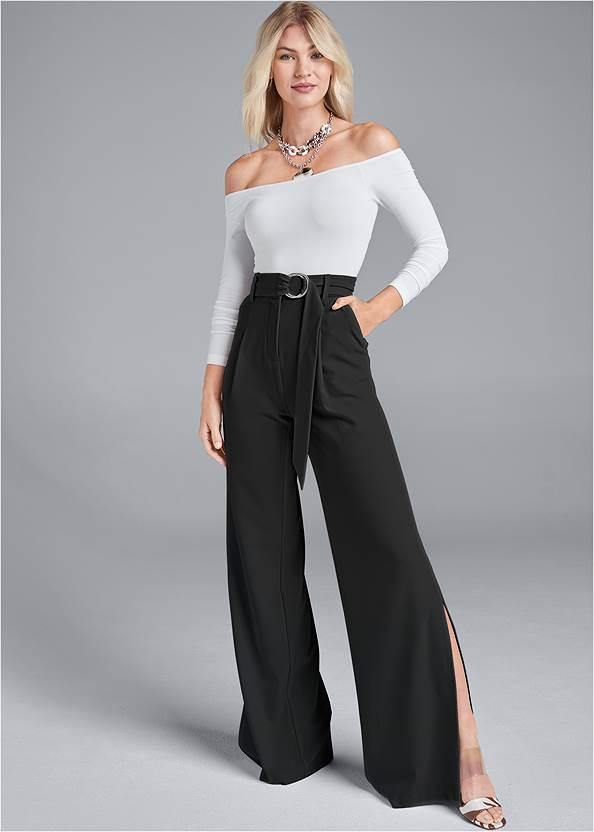 Smoothing Belted Side Slit Pants,Off The Shoulder Top,High Heel Strappy Sandals,Tassel Hoop Earrings,Pleated Tote Bag