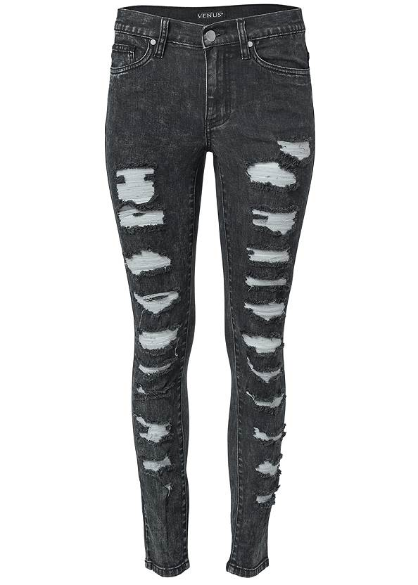 Ghost with background  view Ripped Acid Wash Jeans