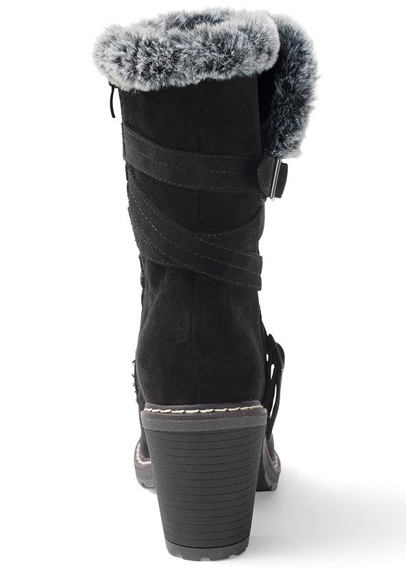 BACK View Faux Fur Buckle Boots