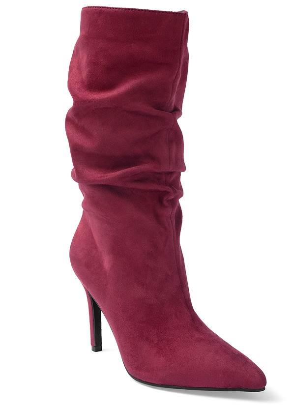 Slouchy Faux Suede Boots,Floral Print Coat,Bum Lifter Jeans,Raffia Bling Hoop Earrings