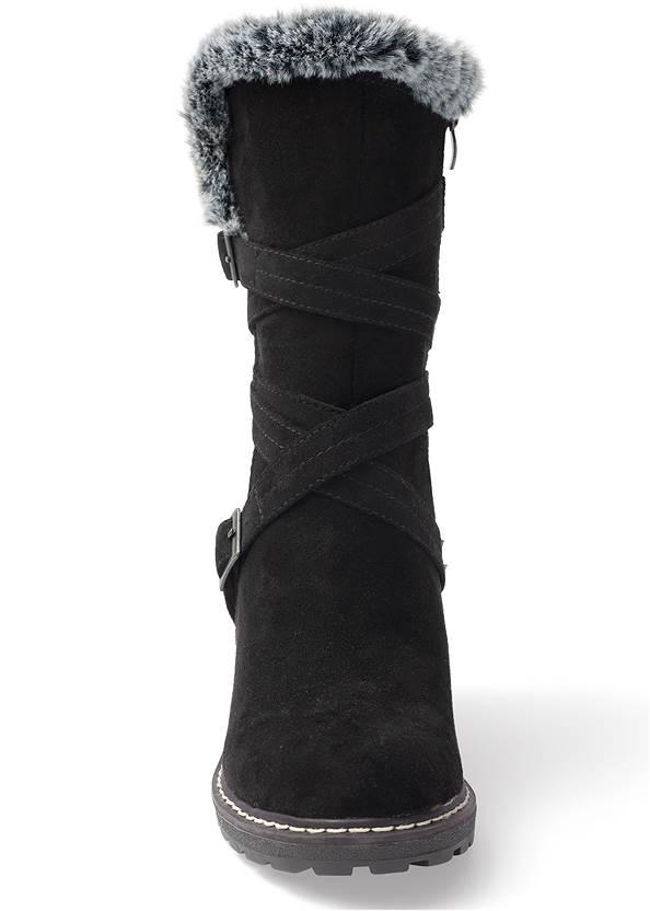 Front View Faux Fur Buckle Boots