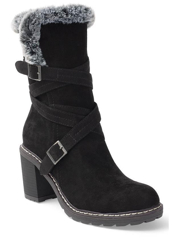 Faux Fur Buckle Boots