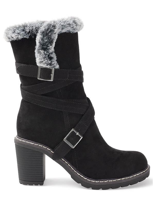 Alternate View Faux Fur Buckle Boots