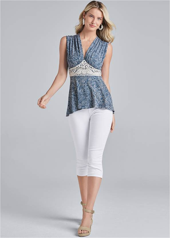 Full front view High Low Lace Detail Top