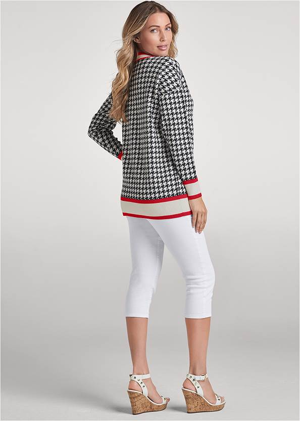 Back View Houndstooth Print Cardigan With Color Block Stripes