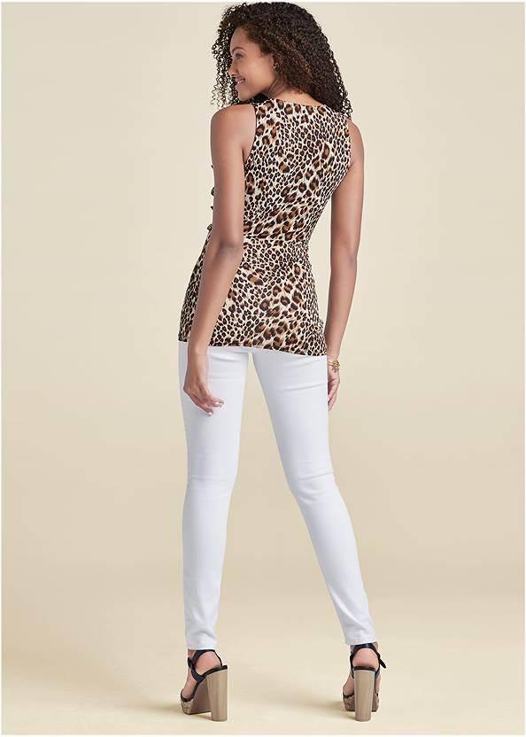 Full back view Leopard Floral Applique Top