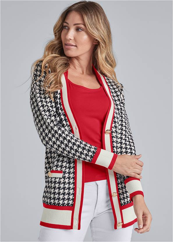 Houndstooth Print Cardigan With Color Block Stripes