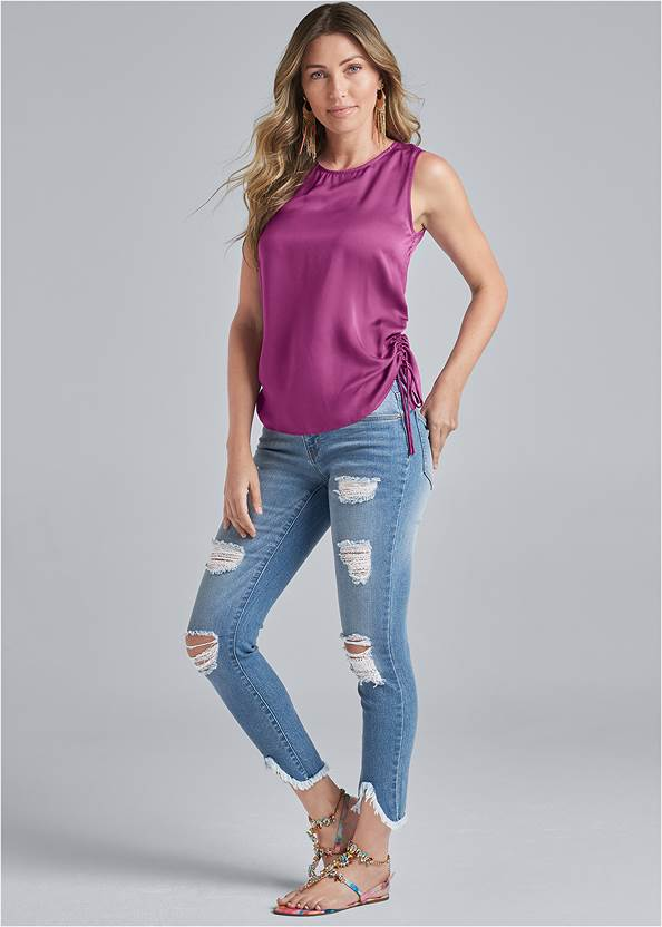 Alternate View Satin Ruched Tank Top