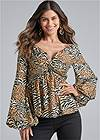 Front View Animal Print Blouse