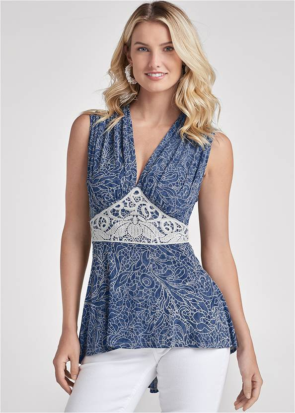 High Low Lace Detail Top