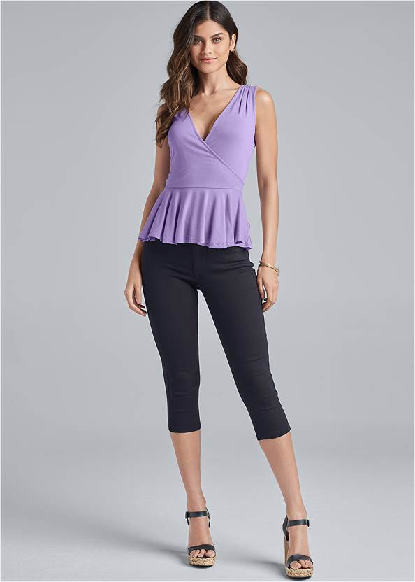 Front View Lace Back Peplum Top