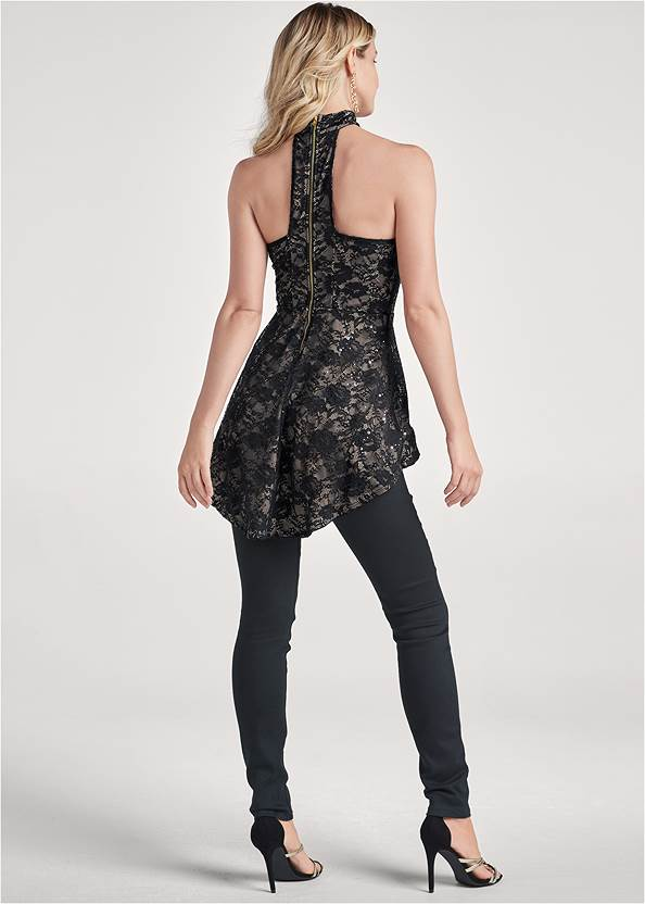 Back View Lace Mock Neck High Low Top