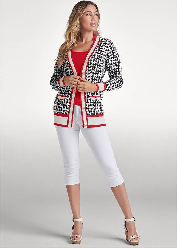Alternate View Houndstooth Print Cardigan With Color Block Stripes