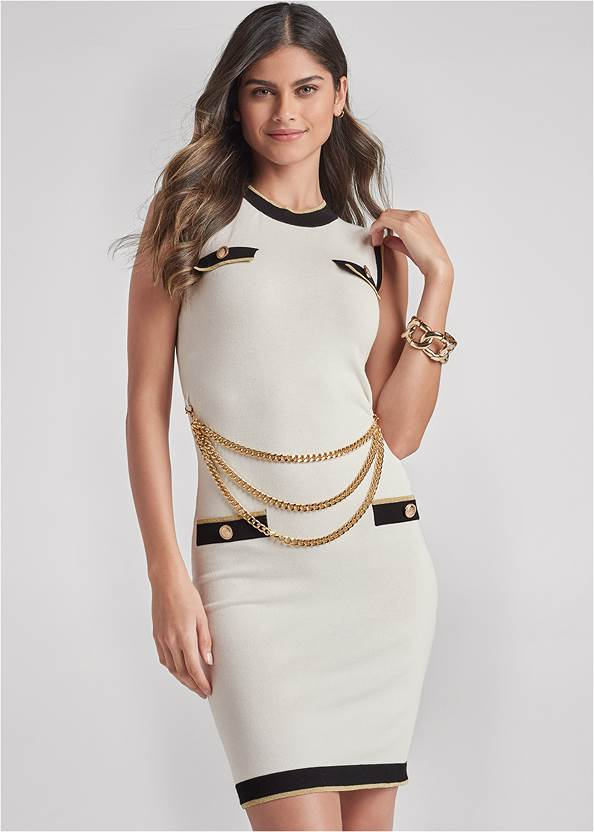 Chain Detail Sweater Dress
