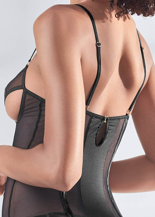 Detail back view Open Cup Bustier With Panty