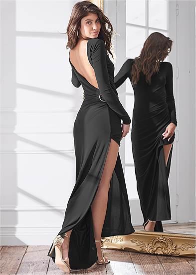 Plunging Back Long Dress