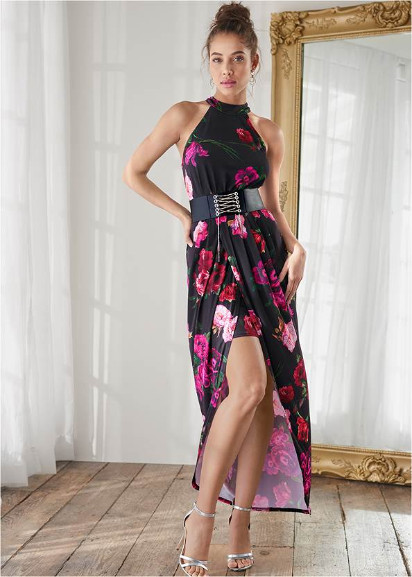 Floral High-Low Maxi Dress,Sexy Ankle Strap Heels,Sexy Slingback Heels,Coin Tassel Earrings,Animal Chain Crossbody Bag