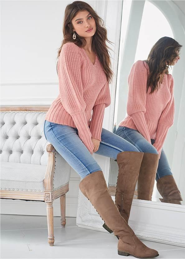 Alternate View Ribbed V-Neck Sweater