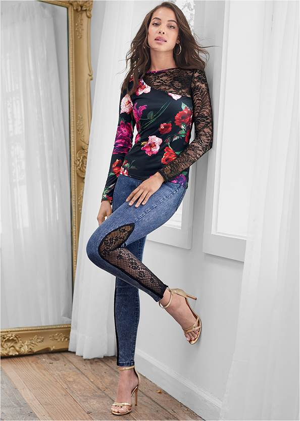 Full Front View Floral Lace Top