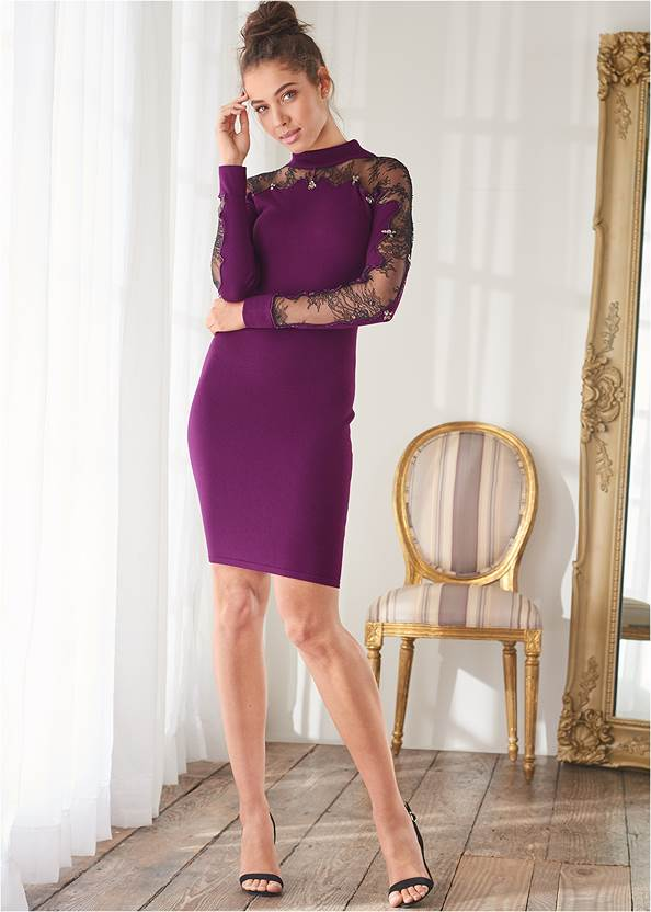 Alternate View Lace Detail Sweater Dress