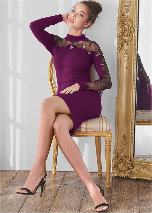 Lace Detail Sweater Dress,Sexy Slingback Heels,High Heel Strappy Sandals,Raffia Hoop Earring Set,Animal Chain Crossbody Bag