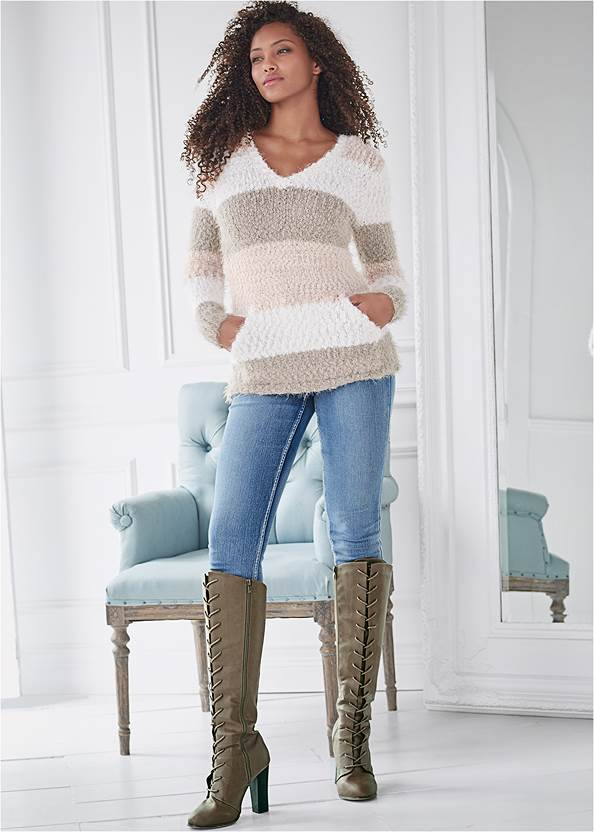 Full front view Cozy Striped Hooded Sweater