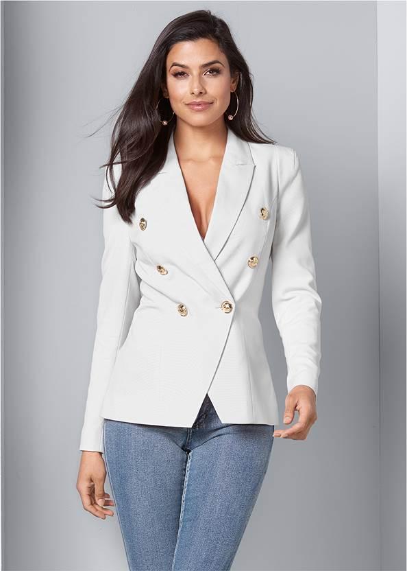 Double Breasted Blazer,Mid Rise Color Skinny Jeans,Circle Detail Booties,Tiger Detail Earrings,Tassel Hoop Earrings,Python Clutch