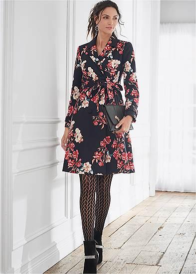 Warm Floral Print Coat