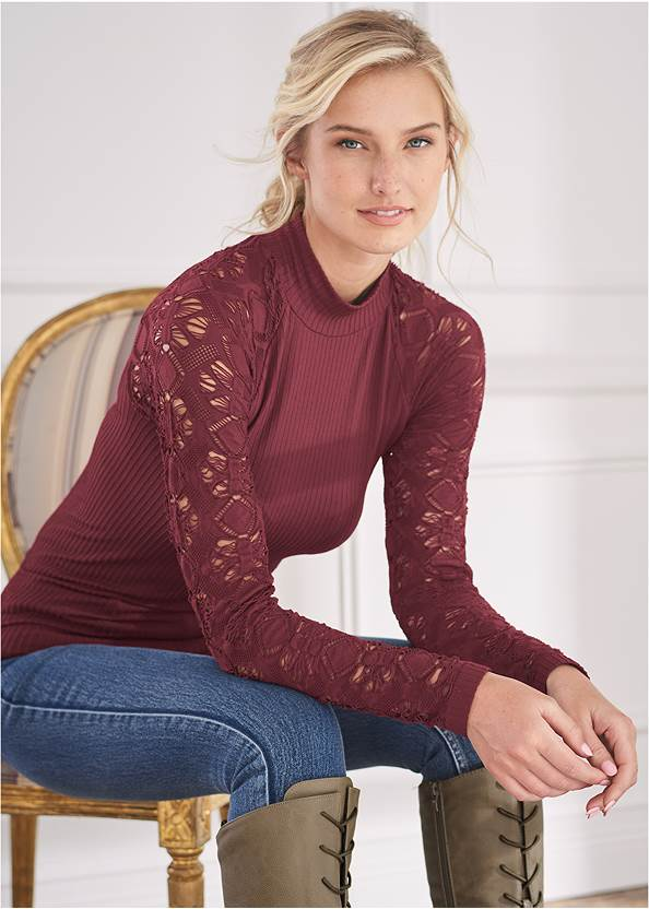 Seamless Mock Neck Top,Elastic Waistband Jeans,Mid Rise Color Skinny Jeans,Lace Up Tall Boots,Peep Toe Print Heels,Tiger Detail Earrings