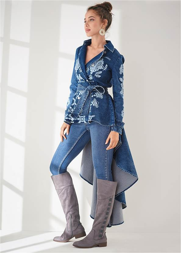 Front View High-Low Denim Trench Coat