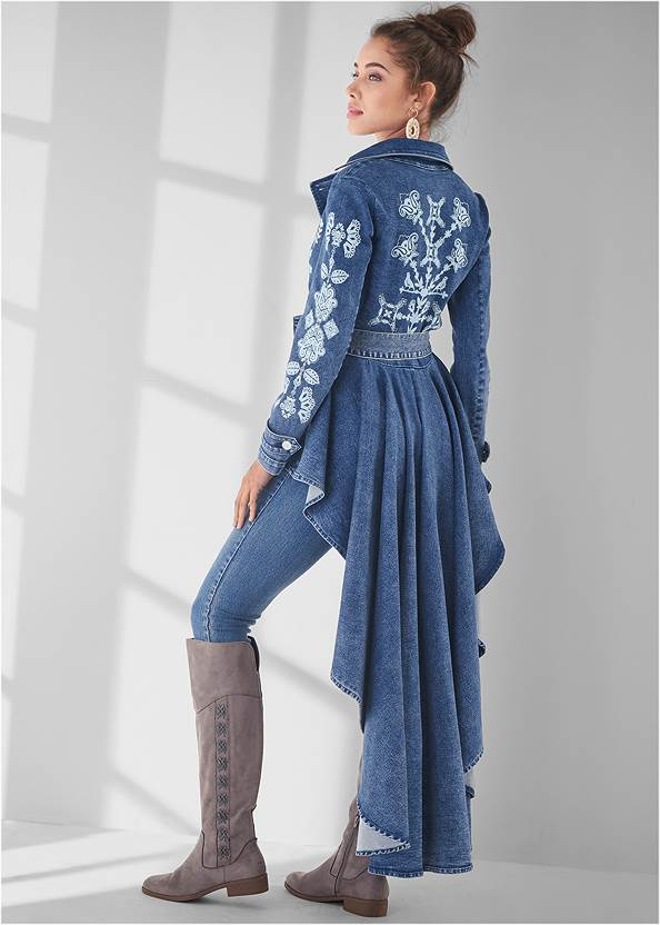 High-Low Denim Trench Coat,Mid Rise Color Skinny Jeans,Stitched Knee High Boots,Lace Up Tall Boots,Raffia Bling Hoop Earrings,Studded Fringe Backpack