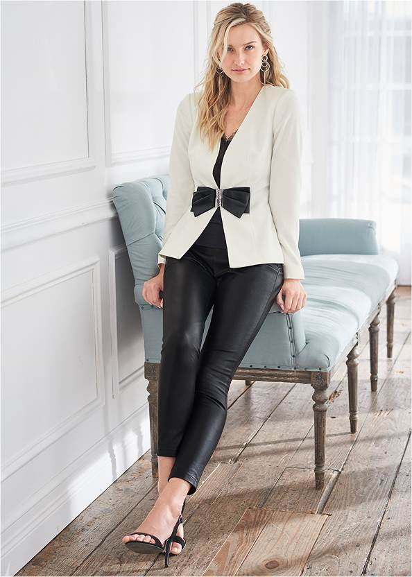 Faux Leather Leggings,Bow Detail Blazer,Floral Applique Sweater,Basic Cami Two Pack,Lace Detail Tank,Jean Jacket,Faux Leather Lace Up Jacket,High Heel Strappy Sandals
