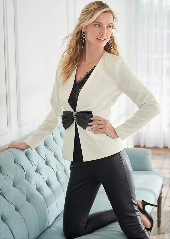 Bow Detail Blazer,Lace Detail Tank,Faux Leather Leggings,Mid Rise Slimming Stretch Jeggings,Sexy Slingback Heels,High Heel Strappy Sandals