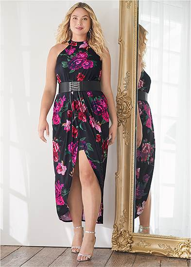 Plus Size Floral High-Low Maxi Dress