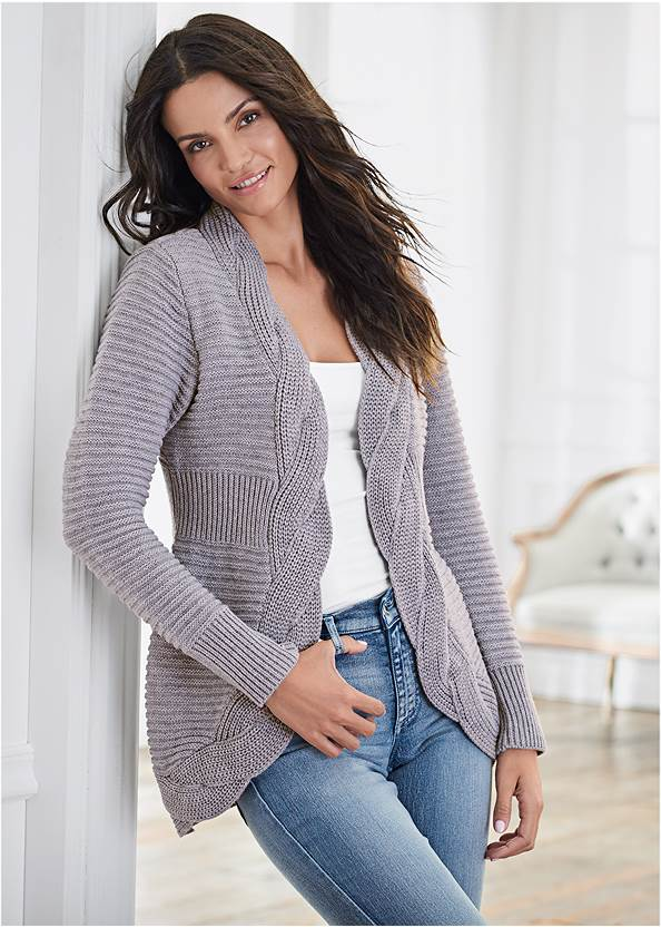 Cable Knit Cardigan,Basic Cami Two Pack,Mid Rise Color Skinny Jeans,Stitched Knee High Boots,Boho Chandelier Earrings