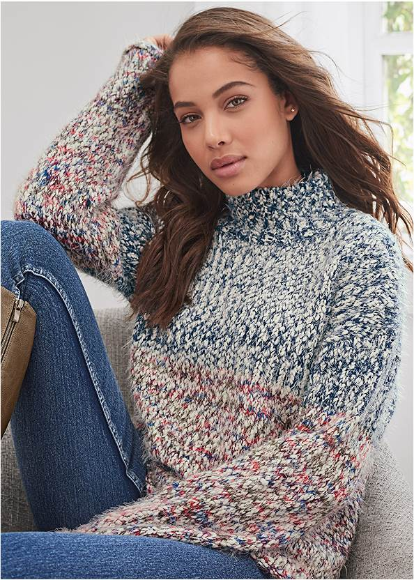 Marled Knit Mock Neck Sweater,Mid Rise Color Skinny Jeans,Bum Lifter Jeans,Lace Up Tall Boots,Twist Handle Satchel Bag