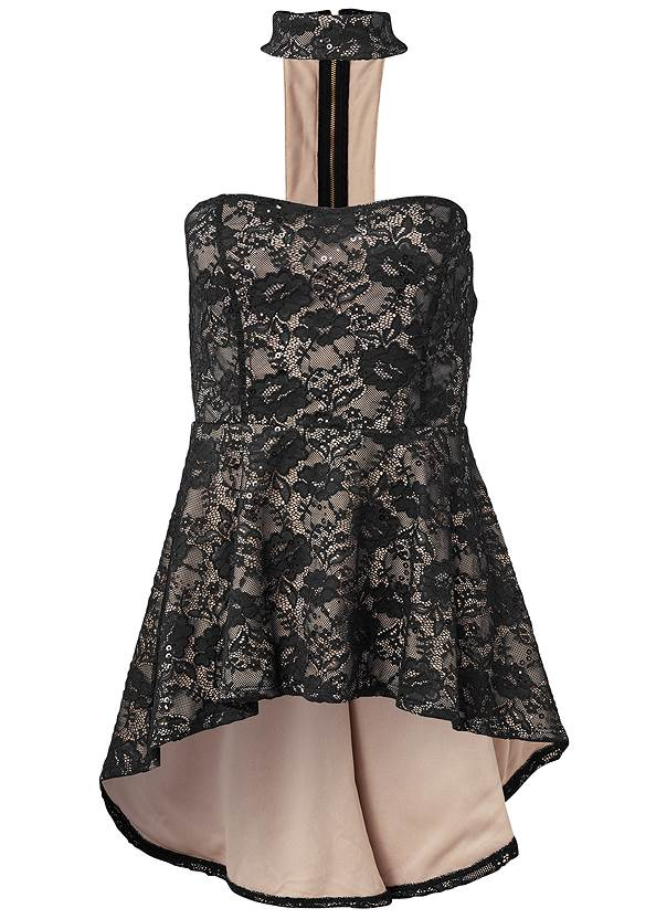 Alternate View Lace Mock Neck High Low Top