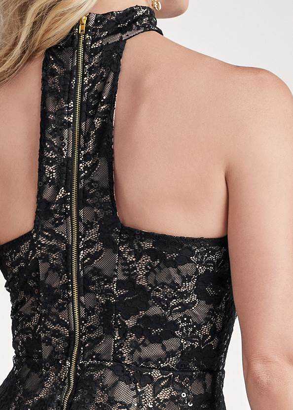 Detail back view Lace Mock Neck High Low Top