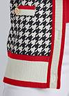 Detail front view Houndstooth Print Cardigan With Color Block Stripes