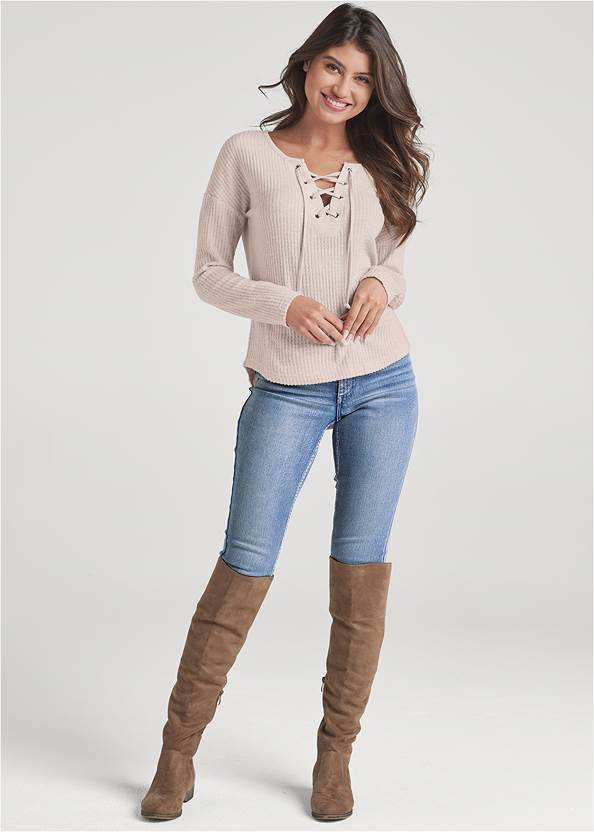 Alternate View Lace-Up Waffle Knit Top