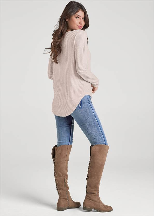Back View Lace-Up Waffle Knit Top
