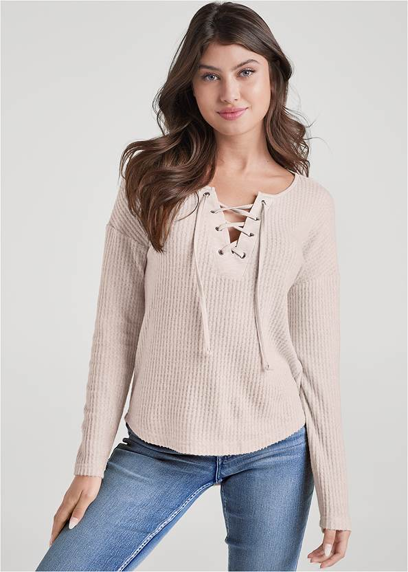 Lace-Up Waffle Knit Top,Mid Rise Color Skinny Jeans,Bum Lifter Jeans,Over The Knee Stretch Boots,Lace Up Tall Boots,Beaded Drop Earrings