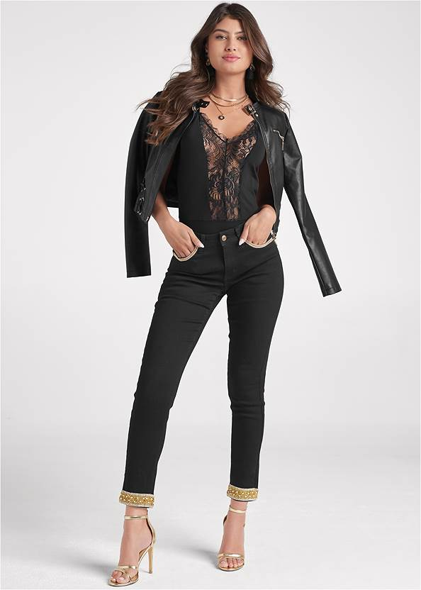 Embellished Cropped Jeans,Lace Detail Tank,Faux Leather Lace Up Jacket,Sexy Ankle Strap Heels,Coin Tassel Earrings