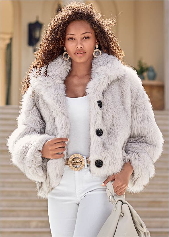 Short Faux Fur Jacket,Basic Cami Two Pack,Casual Bootcut Jeans,Mid Rise Color Skinny Jeans,Gold Statement Heel Boots,Coin Drop Earrings,Pave Statement Earrings,Slouchy Pointed Toe Booties,Twist Handle Satchel Bag