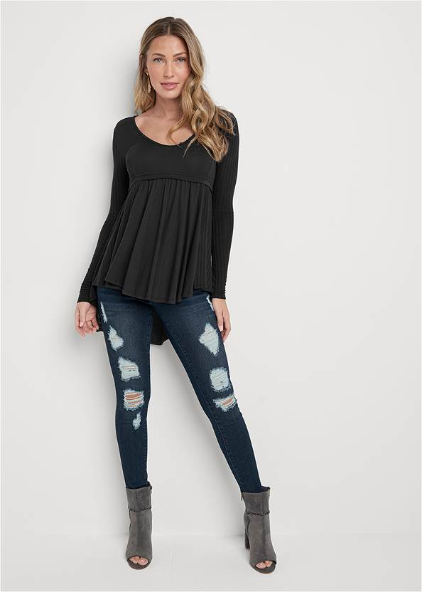 Full Front View High Low Ribbed Casual Top