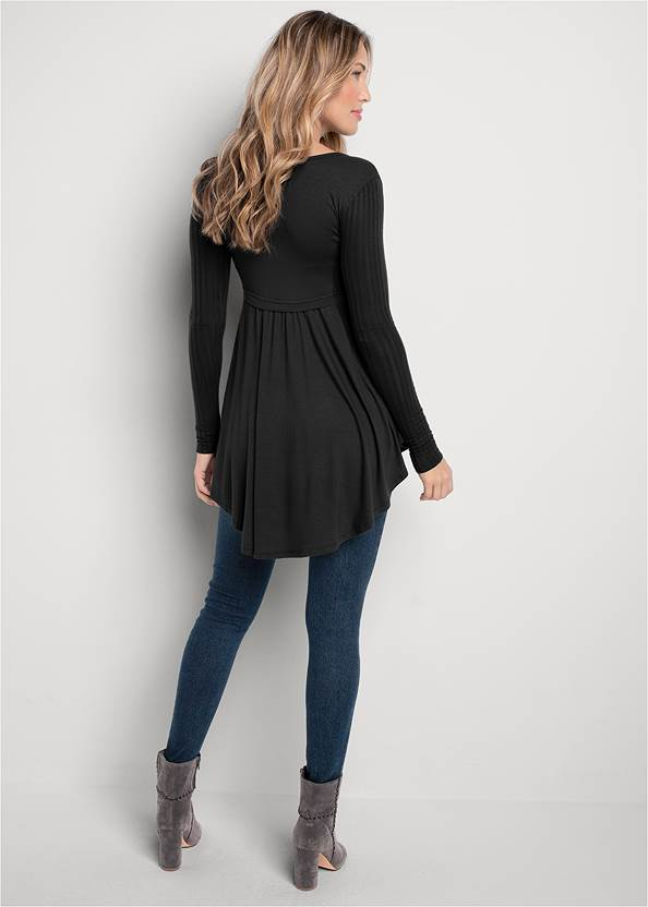 Back View High Low Ribbed Casual Top