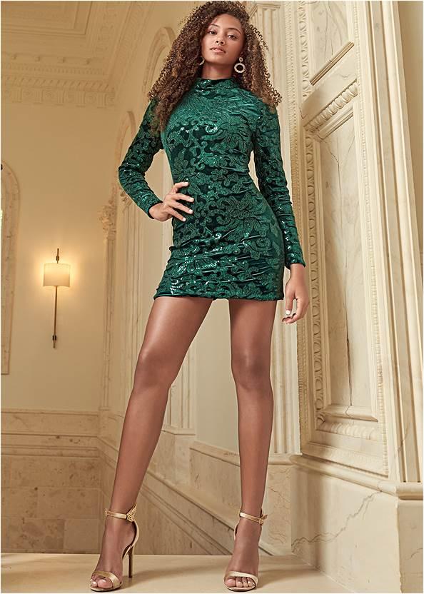 Sequin Detail Velvet Dress,Velvet Embellished Heels,High Heel Strappy Sandals,Pave Statement Earrings,Allover Rhinestone Handbag