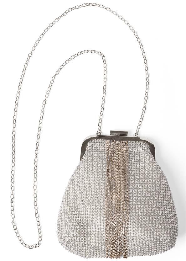 Allover Rhinestone Handbag,Sequin Off-The-Shoulder Dress,Velvet Embellished Heels