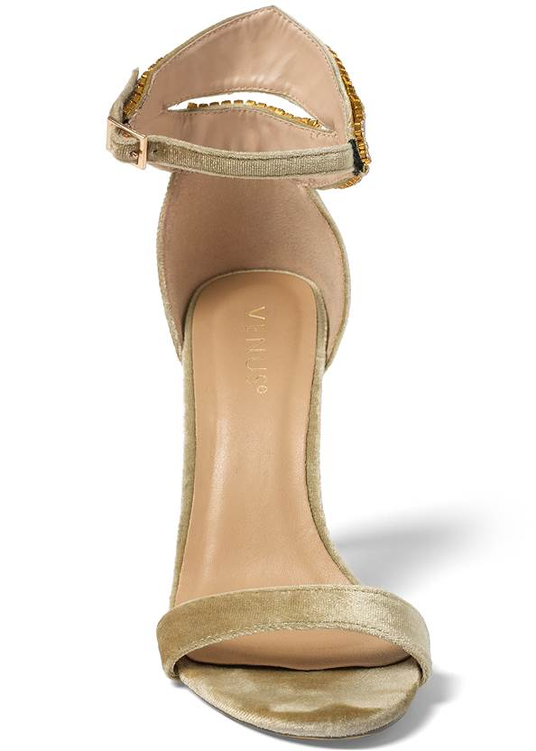 Shoe series front view Velvet Embellished Heels